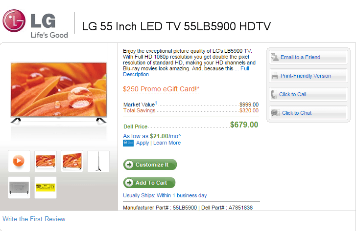 *Cyber Monday* LG 55 Inch LED HDTV for $679 + Free $250 Dell Gift Card!