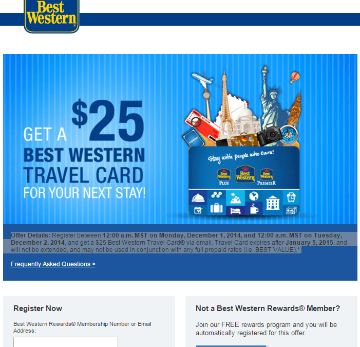 Free $25 Best Western Travel Card!