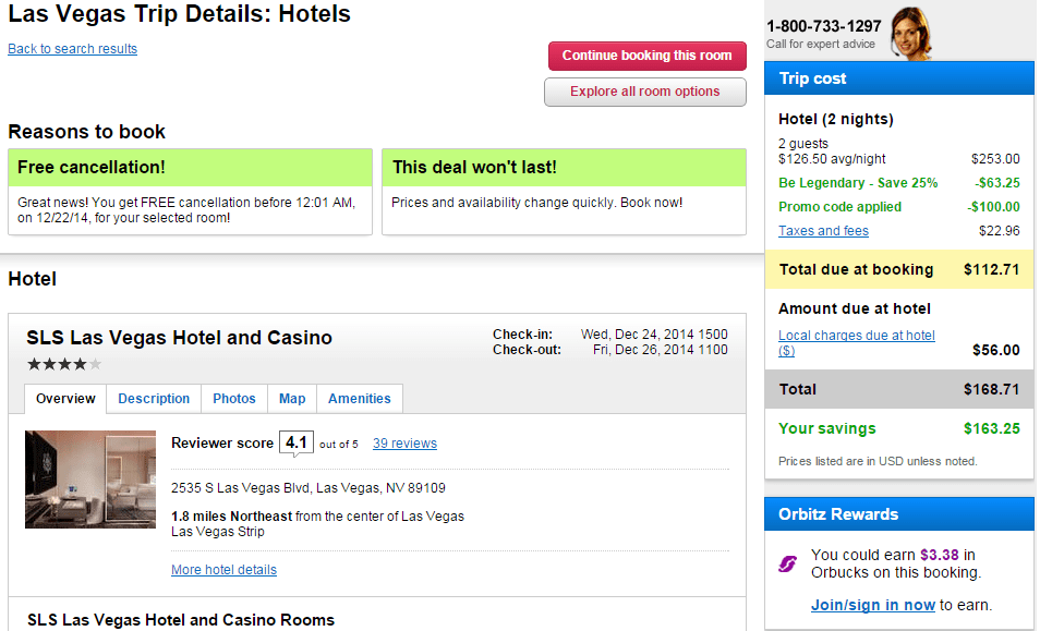 This hotel has a stackable 25% discount on top of the $100 off!
