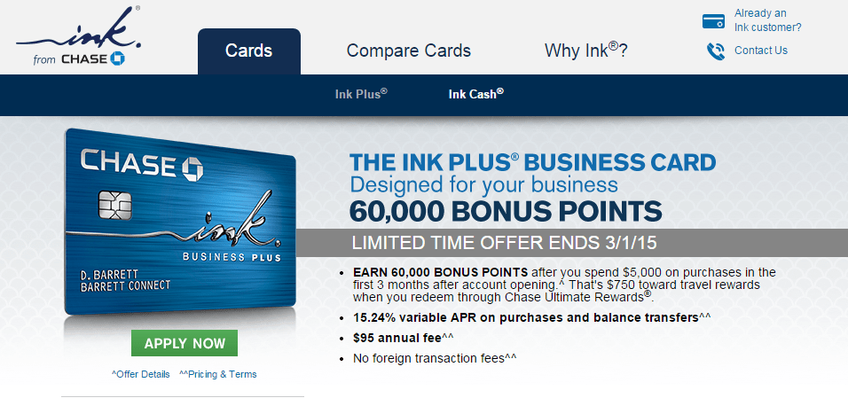 Increased Offer: Chase Ink Plus 60,000 Point Sign Up Bonus!