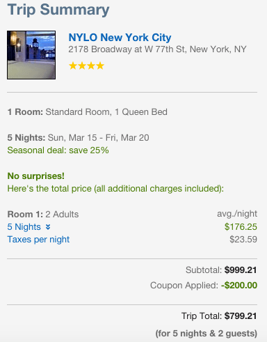 Or stay at a beautiful hotel in Manhattan for the week for $800. Not sure you'll find a better deal than that!