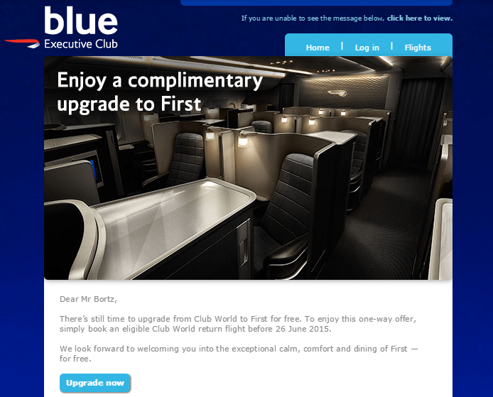 British Airways Offering First Class Complimentary Upgrades?