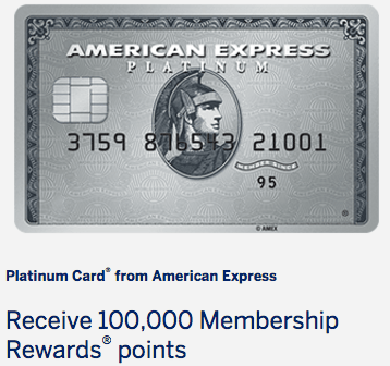 HOT! 100K American Express Platinum Card Offer