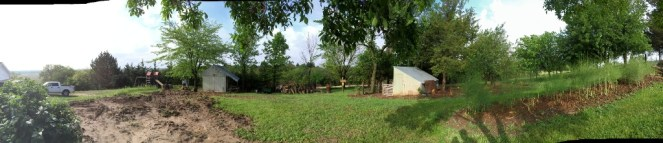 Pano fire pit to chicken coop