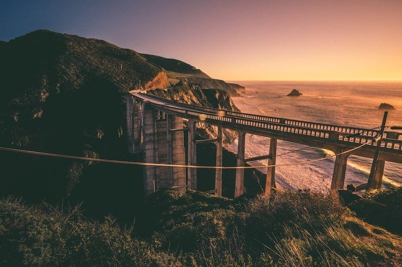 Bridge along the coast in Big Sur, California