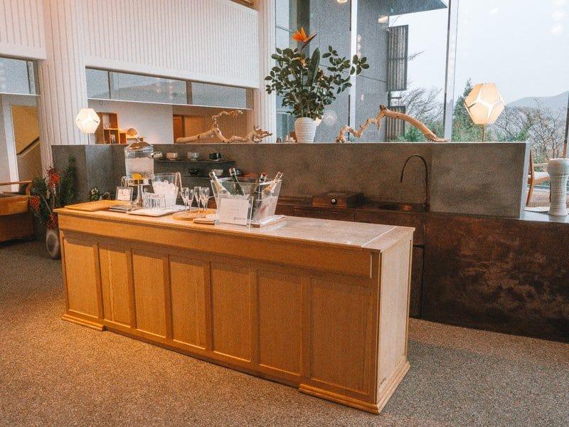 Front desk bar at Hotel Hakone Gora Byakudan