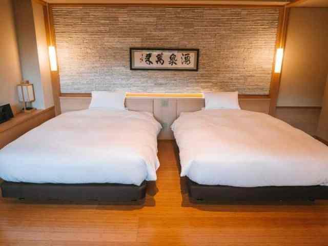 Double beds at Hotel Hakone Gora Byakudan
