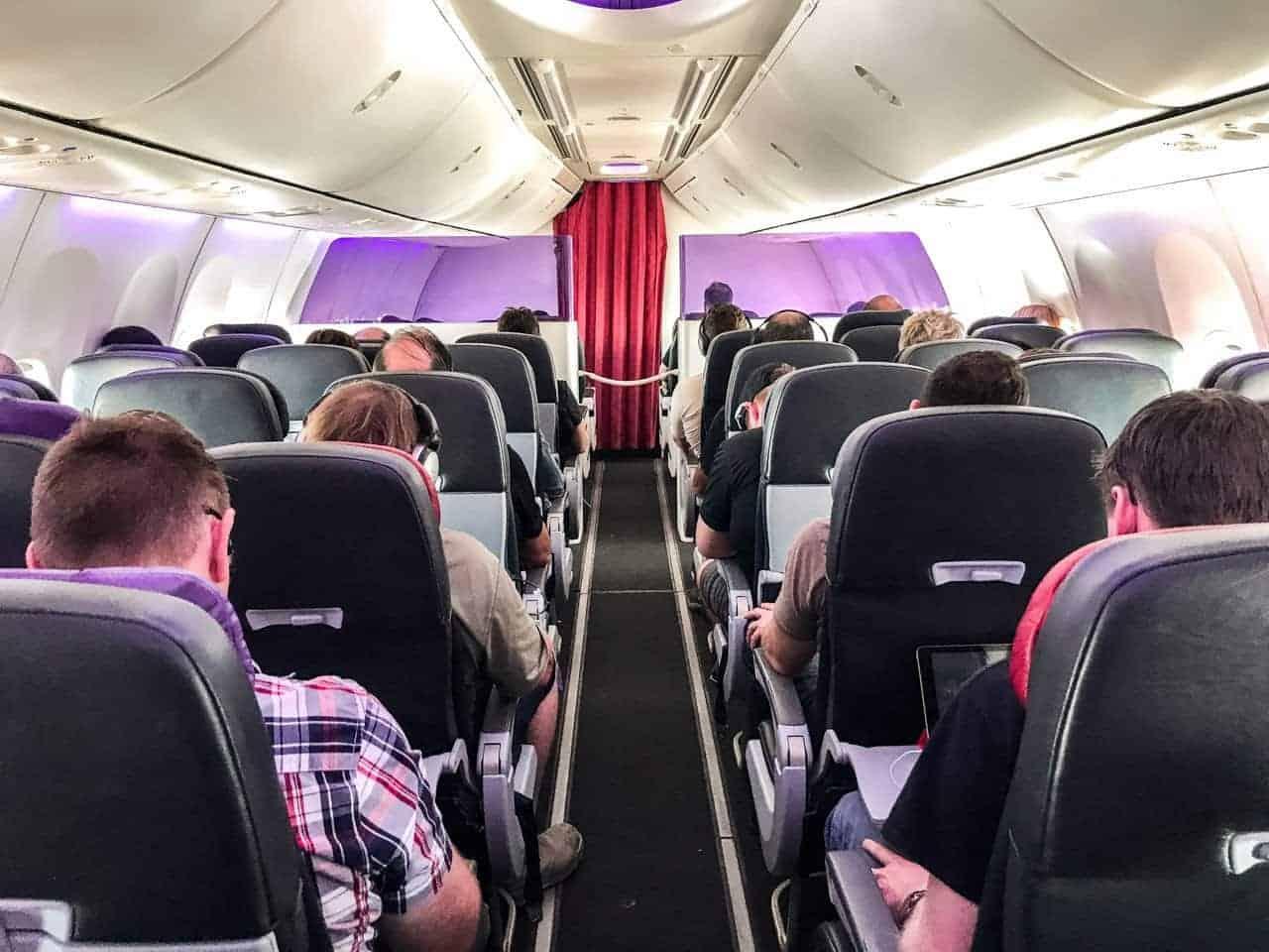 Inside of cabin on Virgin Australia flight