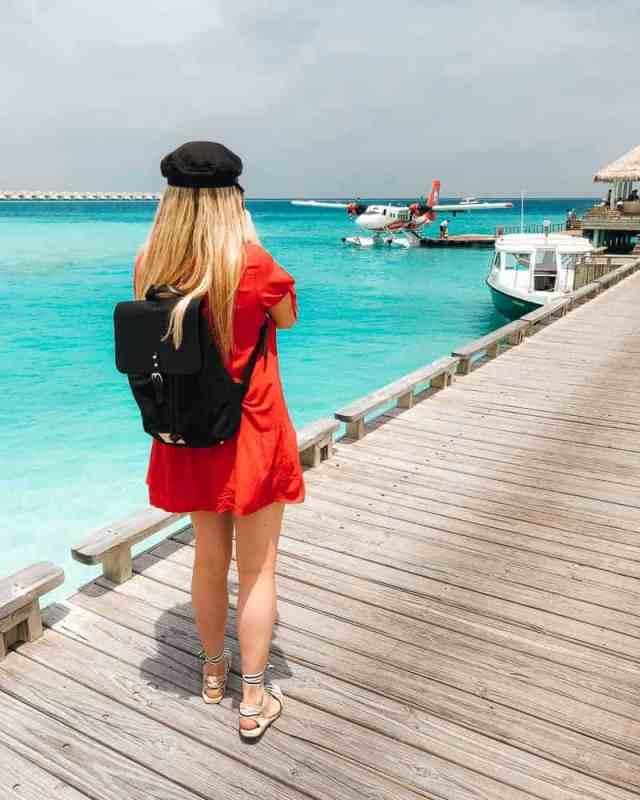 Maldivian Airways seaplane docked at Finolhu Resort, Maldives