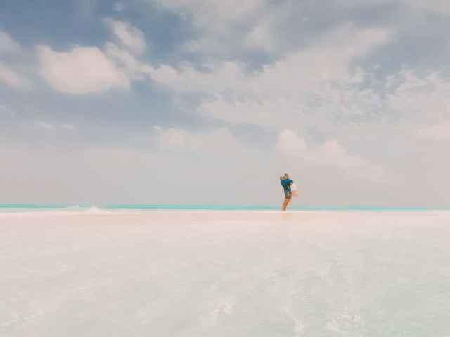 Exploring remote sand bars in the Maldives