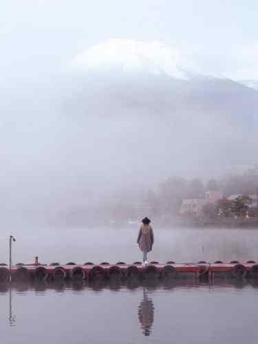 Looking out over Lake Yamanakako and Mount Fuji in the mist