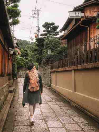 Quaint pebble streets and shop houses in Kyoto