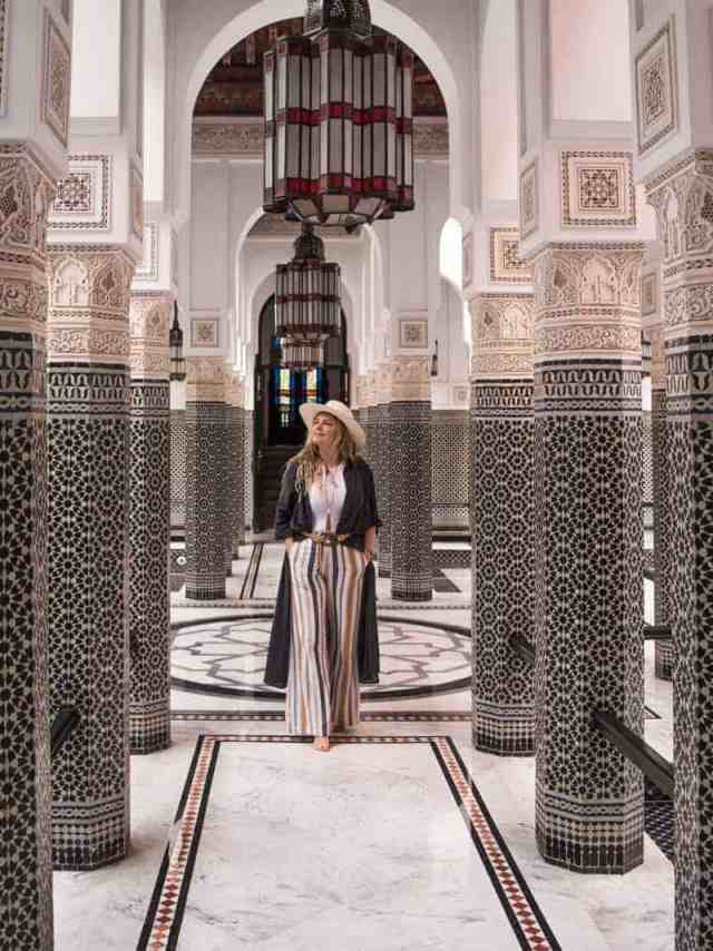 Wandering through the intricately tiled hallways of La Mamounia Hotel in Marrakech, Morocco.