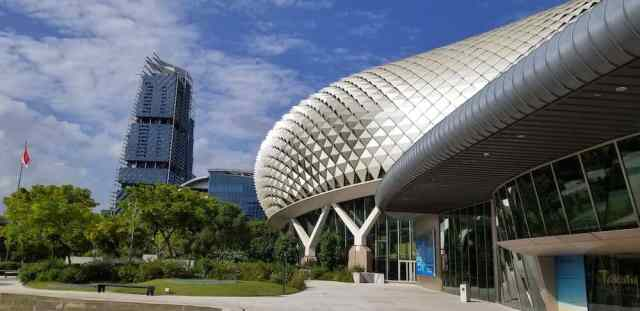 The theatres on the bay building looks like a huge Durian fruit