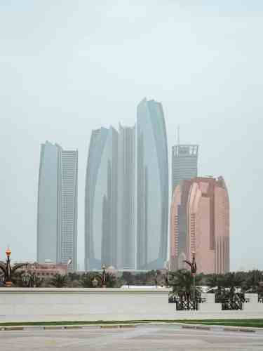 View of the Etihad Towers on the Abu Dhabi Corniche