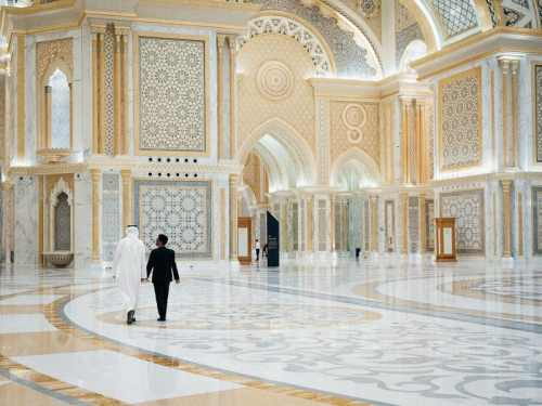 The gold and blue marble tiled atrium at the Presidential Palace in Abu Dhabi