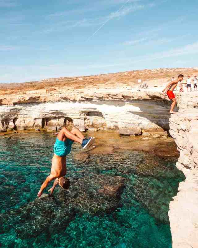 Cliff Diving at the Sea Caves in Asia Napa. Cyprus