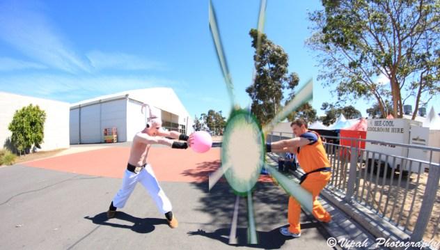 Kid Buu and Goku fight