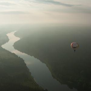 Hot air balloon ride over Birštonas' Nemunas loops