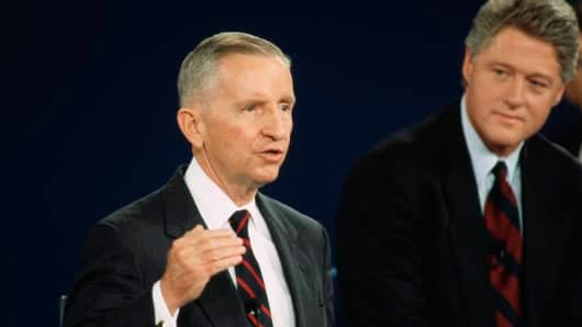 Presidential candidate Ross Perot speaks during the 1992 Presidential Debates.