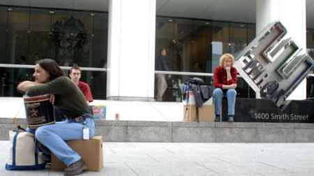 Laid-off Enron employees outside Enron headquarters as the company collapsed in 2001 - Enron corpus analysis