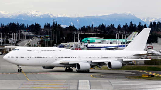 A Boeing 747-8 Intercontinental airliner