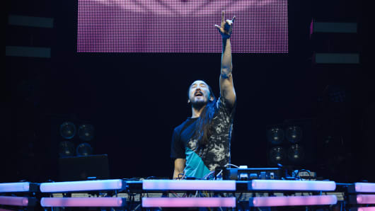 Steve Aoki performs at O2 Academy Brixton on February 7, 2015 in London, England.