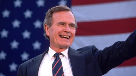George Bush waves to supporters Nov. 5, 1988, three days before he was elected to the White House.