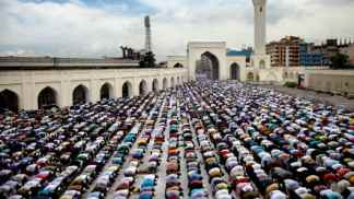 Muslims pray at Dhaka, Bangladesh