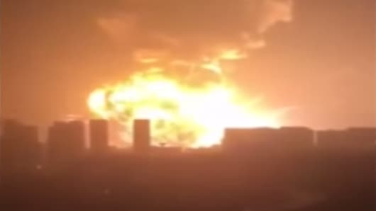 A massive explosion rocks Tianjin, China on Aug. 12, 2015.