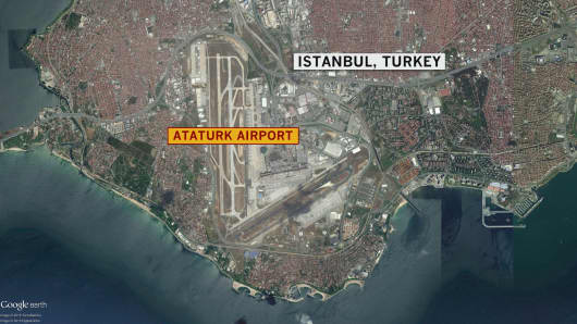 Reported explosions and gunfires at Istanbul's Ataturk Airport on June 28, 2016.