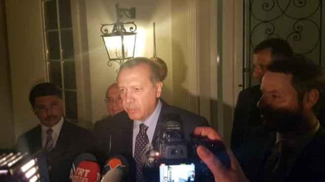 Turkish President Tayyip Erdogan speaks to media in the resort town of Marmaris, Turkey, July 15, 2016.
