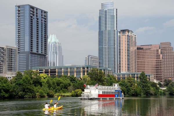 Kayaking in Austin, Texas.