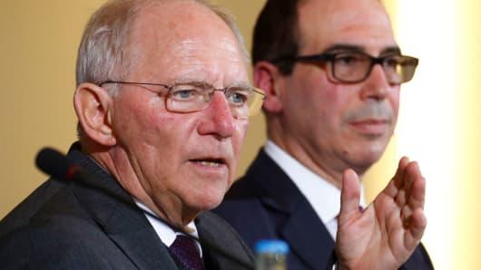Treasury Secretary Steve Mnuchin and German Finance Minister Wolfgang Schaeuble in Berlin, Germany, March 16, 2017.