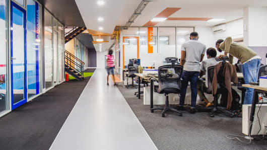 Andela developers collaborating in newly opened Nigerian Headquarters.
