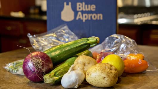 Vegetables from a Blue Apron meal-kit delivery are arranged for a photograph in Tiskilwa, Illinois.