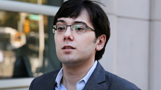 Martin Shkreli, former chief executive officer of Turing Pharmaceuticals AG, arrives at federal court in the Brooklyn borough of New York, on Monday, July 31, 2017.