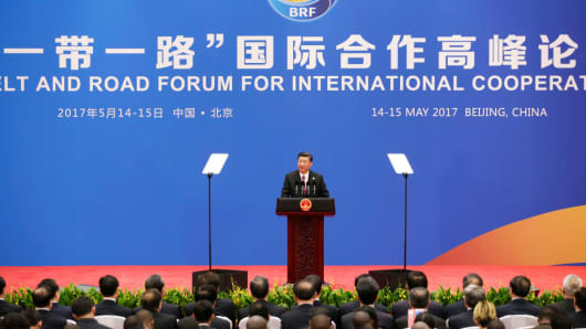 China President Xi Jinping attends a news conference at the Belt and Road Forum for International Cooperation on May 15, 2017 in Beijing, China.