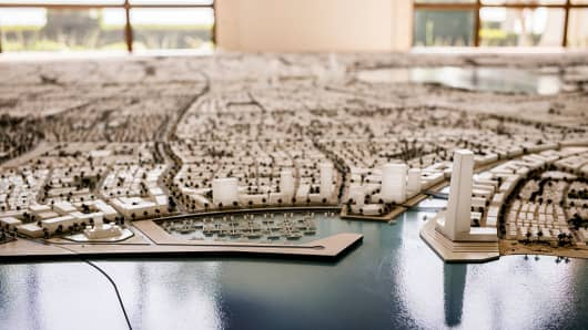 A scale model showing the plans for the eventual size of the King Abdullah Economic City on April 07, 2016 in Jeddah, Saudi Arabia. The King Abdullah Economic City (KAEC) is a massive project to create a port and manufacturing city on the Red Sea