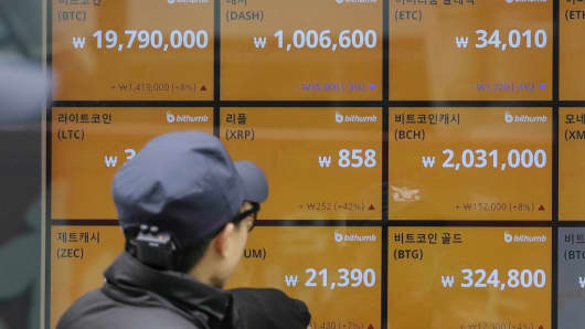 A screen showing prices of bitcoin at a Cryptocurrency exchange store in Seoul on December 15, 2017.
