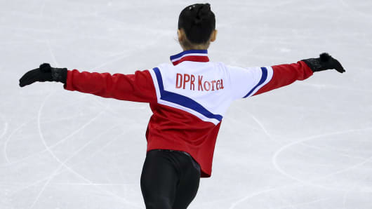 Tae Ok Ryom of North Korea warms up during the Figure Skating Pairs Skating Short Program on day five of the PyeongChang 2018 Winter Olympic Games.