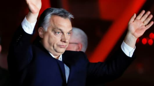 Hungarian Prime Minister Viktor Orban addresses the supporters after the announcement of the partial results of parliamentary election in Budapest, Hungary, April 8, 2018.