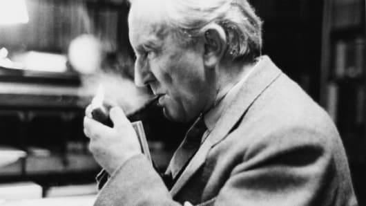 """""""Lord of the Rings"""" author JRR Tolkien in his study at Merton College, Oxford, 2nd December 1955."""