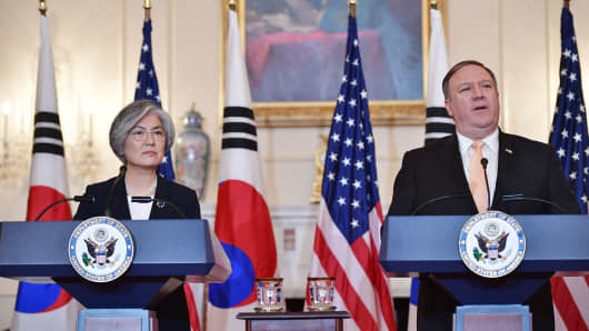 Secretary of State Mike Pompeo and South Korea's Foreign Minister Kang Kyung-wha take part in a joint press conference at the State Department in Washington, DC on May 11, 2018.