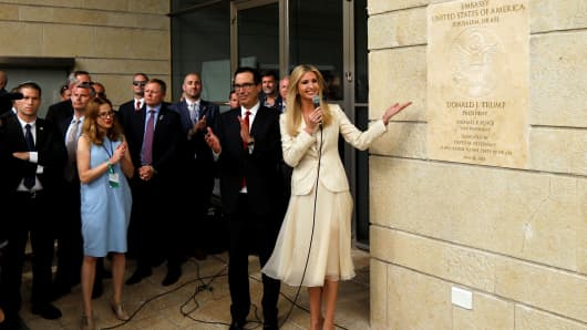 Senior White House Adviser Ivanka Trump and U.S. Treasury Secretary Steven Mnuchin stand next to the dedication plaque at the U.S. embassy in Jerusalem, during the dedication ceremony of the new U.S. embassy in Jerusalem, May 14, 2018.