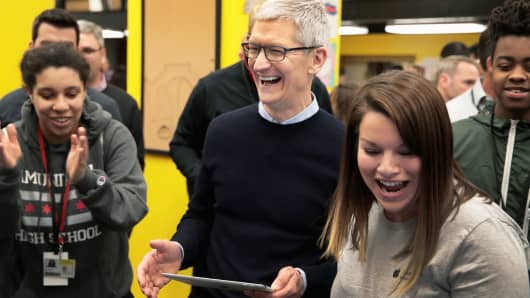 Apple CEO Tim Cook at an event to introduce the new 9.7-inch Apple iPad at Lane Tech College Prep High School on March 27, 2018 in Chicago, Illinois.