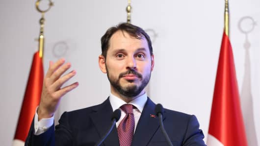 Berat Albayrak, the Minister of Finance and Minister of Finance of Turkey, speaks at a press conference in Istanbul on Friday, 10 August 2018.
