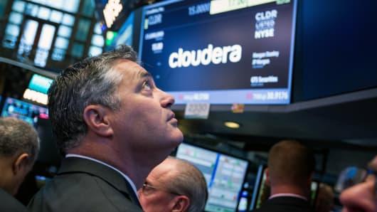 Tom Reilly, director ejecutivo de Cloudera Inc., se presenta durante la oferta pública inicial (OPI) de la compañía en el piso de la Bolsa de Nueva York (NYSE) en Nueva York.