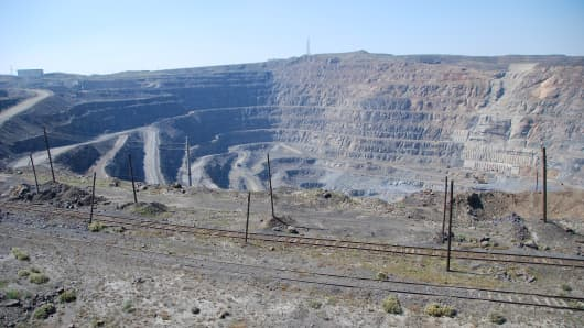 Rare-earth mine in Bayan Obo, China. This mine is one the largest deposits of rare earth metals found in the world.