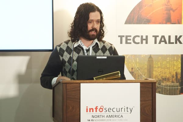 Troy Kent, a threat researcher for Awake Security, presents his research at the InfoSecurity North America Conference in New York City.